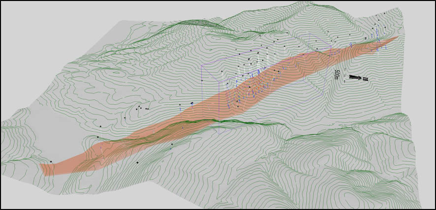3D Isometric View of the Cardiac Creek Horizon. Area of economic interest outlined by rectangular box.